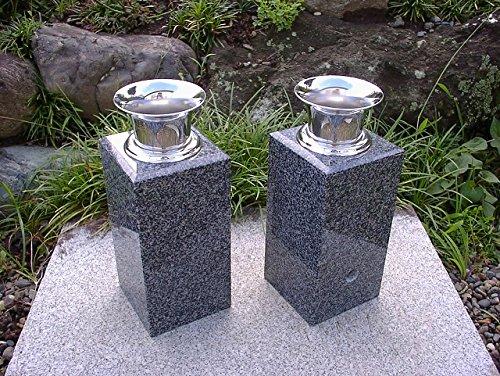 【お墓用花立】グレー御影石花立ステンレス花筒付 B00LG9PM8Y
