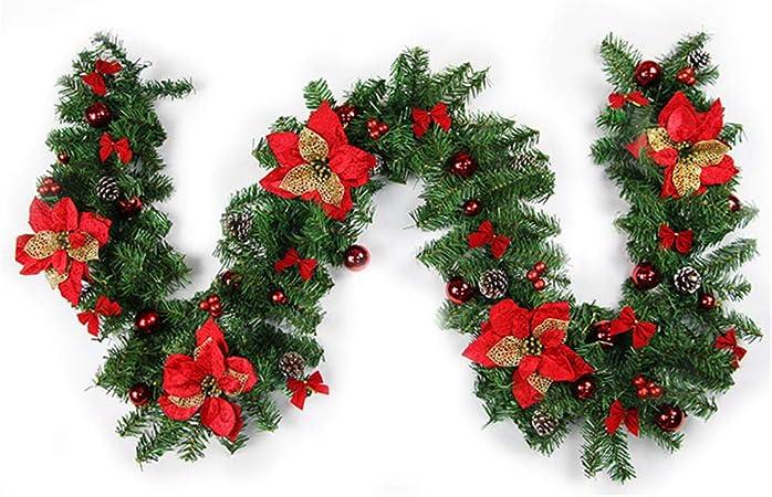 StMiYi 2.7M Guirnalda De Navidad Escalera Chimenea Guirnalda De Navidad Decoración Guirnalda Roja De Navidad Puerta Colgante Guirnalda De Ventana De Restaurante Corona: Amazon.es: Hogar