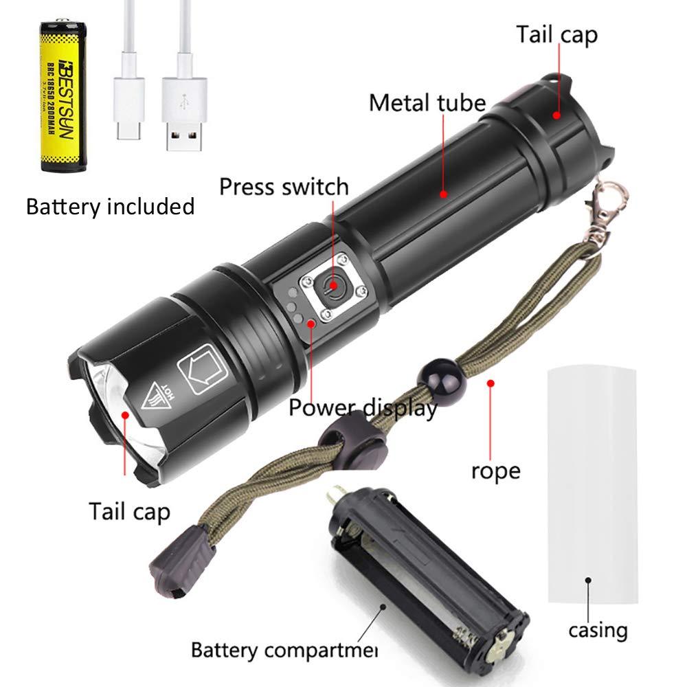 Rescate Caza LUXJUMPER Linterna LED Recargable 10000 L/úmenes XHP70 Alta Potencia 5 Modos Zoomable Impermeable T/áctica Impermeable Linterna Ideal para Camping Defensa del Hogar y Mucho M/ás.