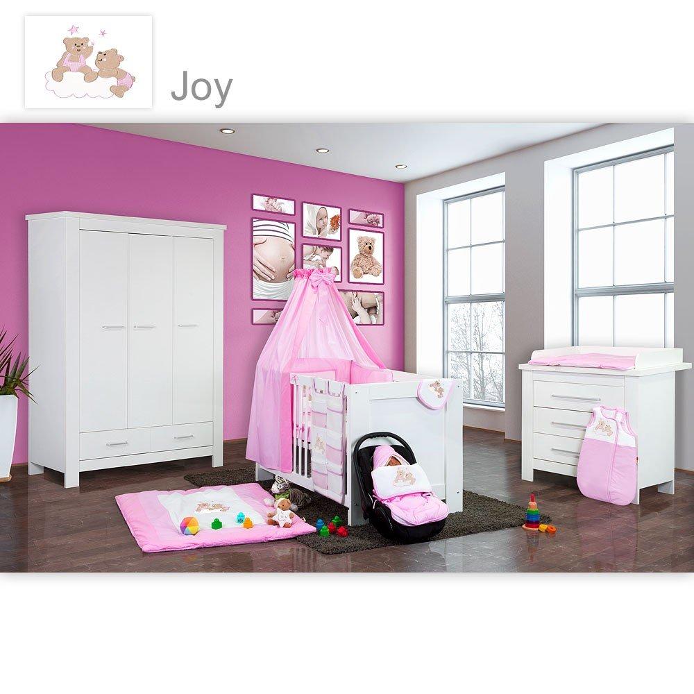 Babyzimmer Enni in weiss 21 tlg. mit 3 türigem Kl. + Textilien Joy, Rosa
