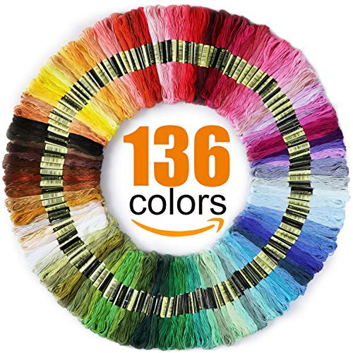 Premium Rainbow Color Embroidery Floss - Cross Stitch Threads - Friendship Bracelets Floss - Crafts Floss - 136 Skeins Per Pack