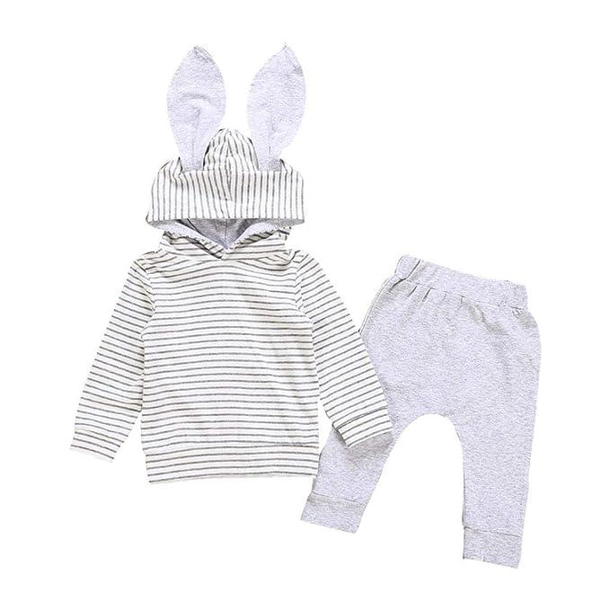 e4975849269c GoodLock Clearance!! Baby Boys Girls Clothes Set Infant 3D Bunny Ear  Striped Hooded T