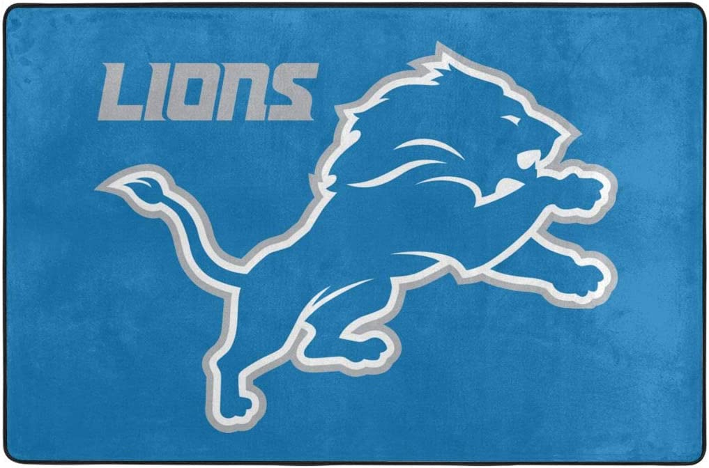 Azhangljqn Carpet Detroit Lions Carpet 36 x 24 in & 72 x 48 inch, Bedroom Living Room Dining Room mat, Personalized Home Decoration.