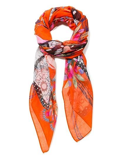 031281be4542 Desigual Rectangle Foulard MENSAJE Woman Orange