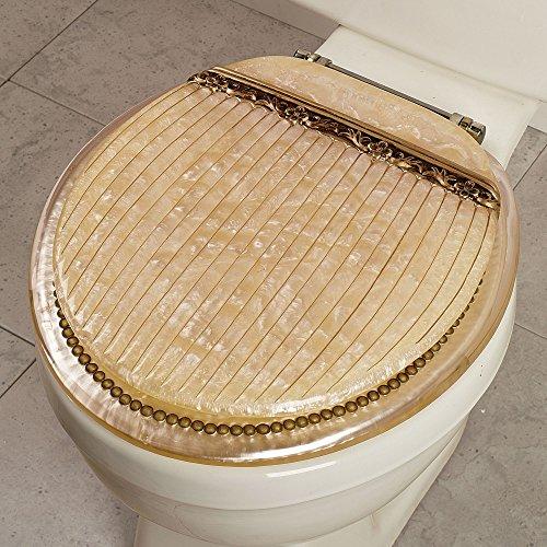 Roma Beige Italian Marble Look Resin Toilet Seat, Standard Round Size
