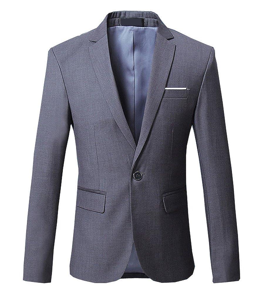 OUYE Men's Solid 1 Button Back Vent Blazer OY106
