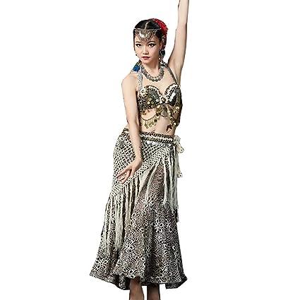 Z&X Danza del Vientre Rendimiento De La Ropa, Tribal Wind Costume Bra Flecos Toalla Cintura