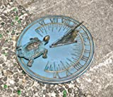 Brass Decorative Turtle Sundial 7'' Inches Wide