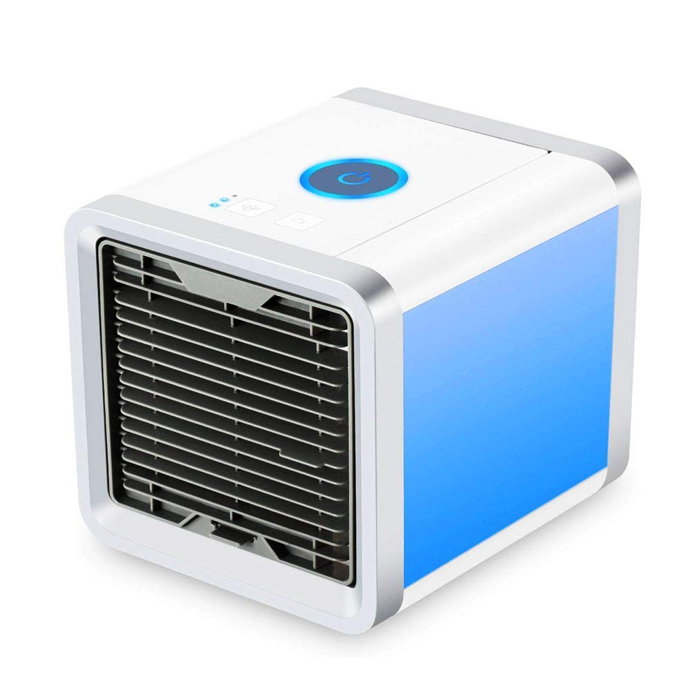 SOLKSHOP Portable Air Conditioner,3 in 1 Mini USB Personal Space Cooler,Humidifier and Purifier,Air Cooler with 3 Speeds and 7 Colors Led Night Light for Home Office Car Travel.