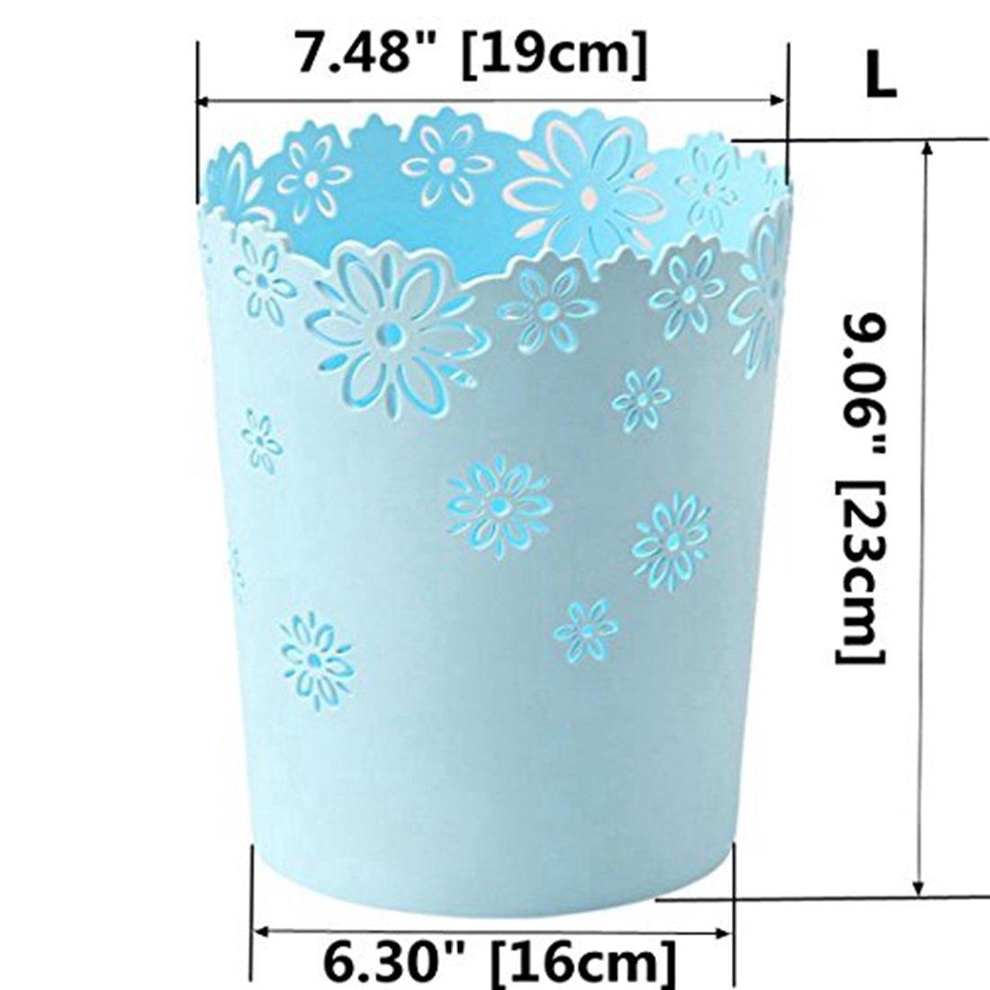 Waste Paper Baskets, XSHION Trash Can Garbage Bin Plastic without Lid for Bedroom /Kitchen /Bathroom /Office /Desktop (Blue 1 Pack Large)