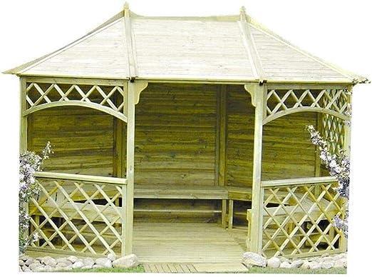 Stan-Wood Pavillon - Manguera para jardín (madera, con tejado de madera, 3, 5 m x 2, 6 m, exterior 3, 95 x 3 m): Amazon.es: Jardín