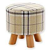 Juvale Ottoman Footstool - Round Pouf Ottoman Foot Rest With Removable Tartan Print Linen Fabric Cover