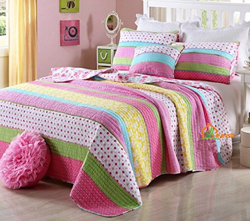 HNNSI Cotton Kids Girls Summer Quilt Comforter Sets Queen Size 3 Piece, Pink Dot Striped Bedspread Children Comfy Pretty Girls Bedding Sets Dot Cotton Quilt