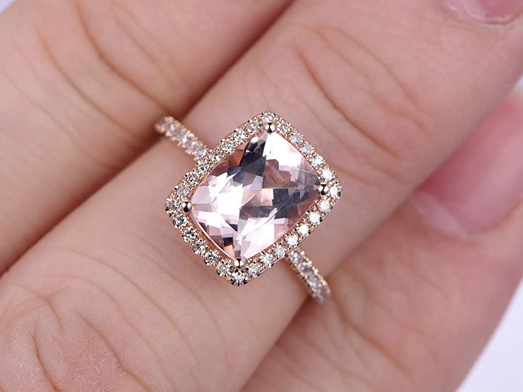 7×9mm Cushion Cut Natural Pink Morganite Engagement Ring HALO ...