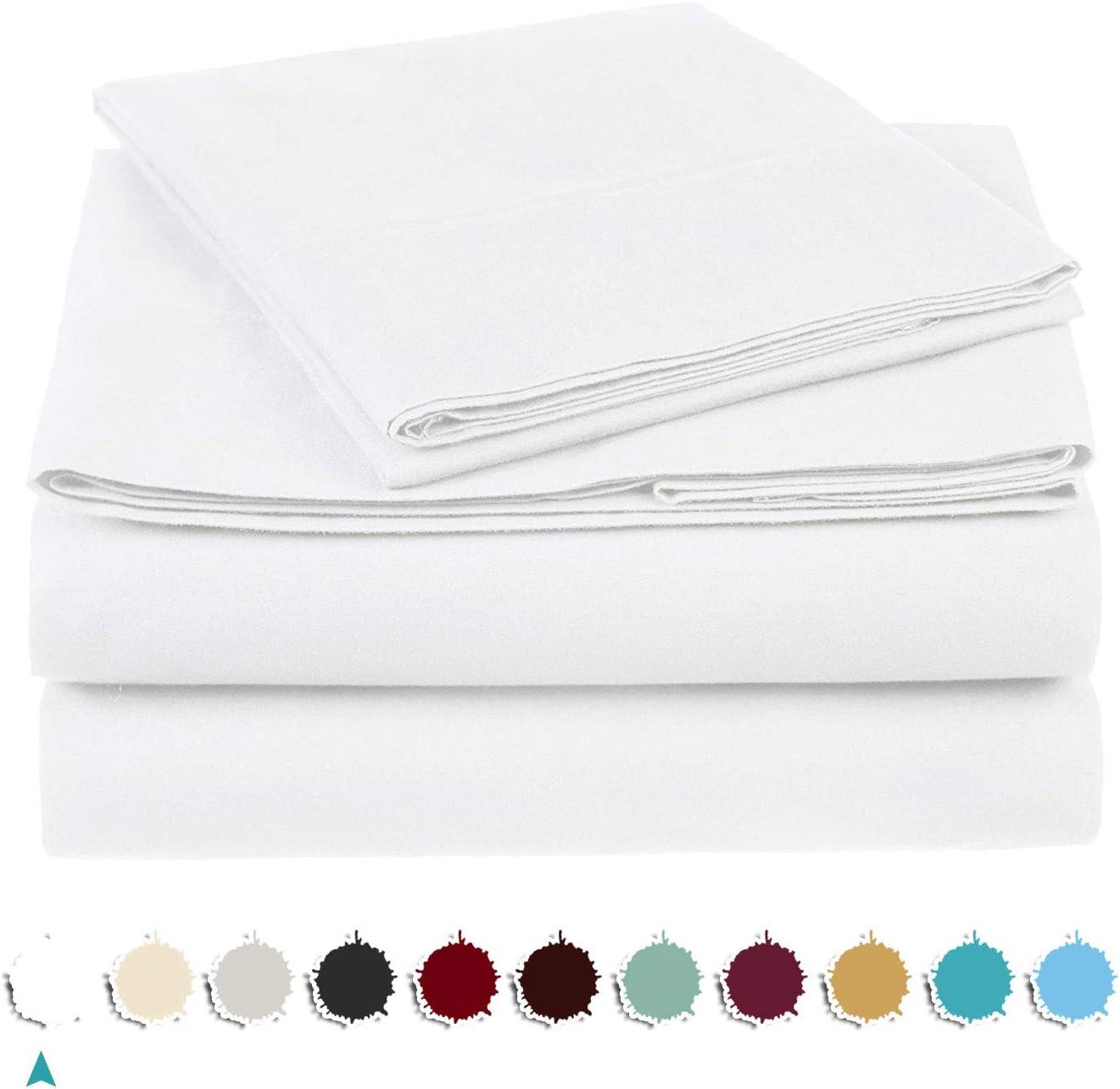 "Louis Ultra Soft 1000 Count 100% Egyptian Cotton - 4 Piece Bed Sheet Set 21"" Deep Pocket Queen, White."