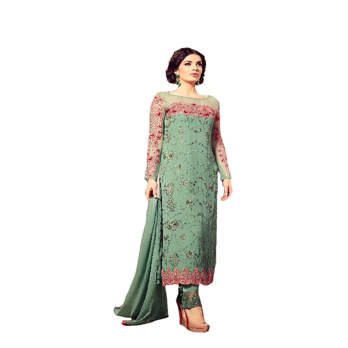 Latest Wedding Collection Women Dress Straight Salwar Kameez Suit Party Wear 375