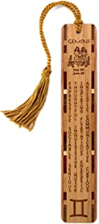 product image for Gemini Zodiac Sign Artwork and Positive Personality Traits Engraved Wooden Bookmark with Inlays and Tassel - Also Available Personalized