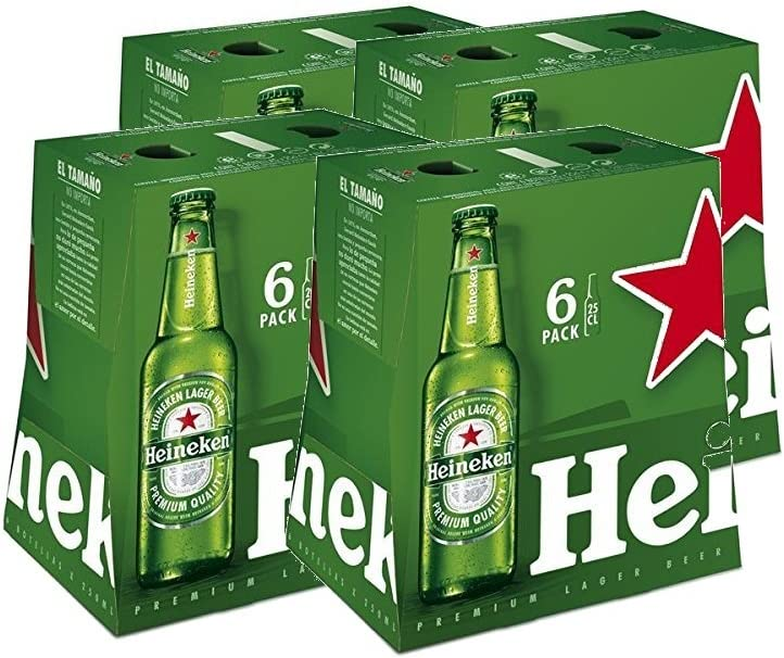 Heineken Cerveza - 4 Packs de 6 botellas x 250 ml - Total: 6L ...