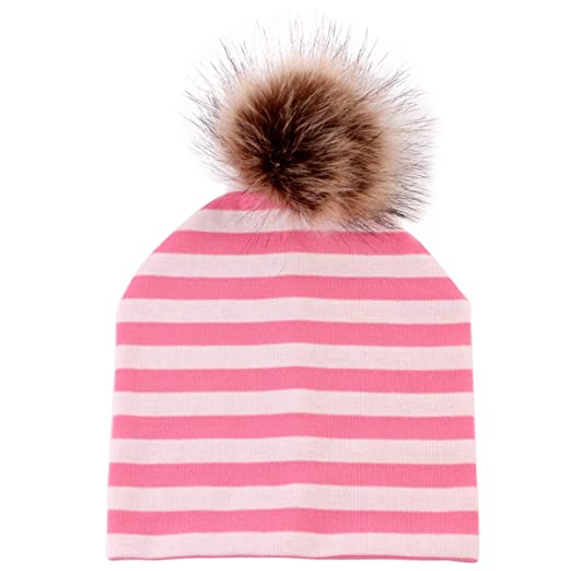 Infant Newborn Baby Hats Cute Soft Warm Cotton Beanie Hat Toddler Baby Kids  Ski Cap Pom 6dd26ac8c247