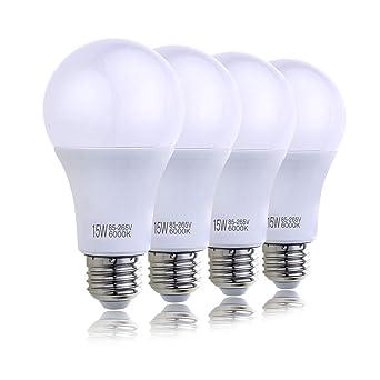 Hzsane Bombillas de A65 LED E27 de 15W, Bombillas Incandescentes Equivalente de 120W, 6000K