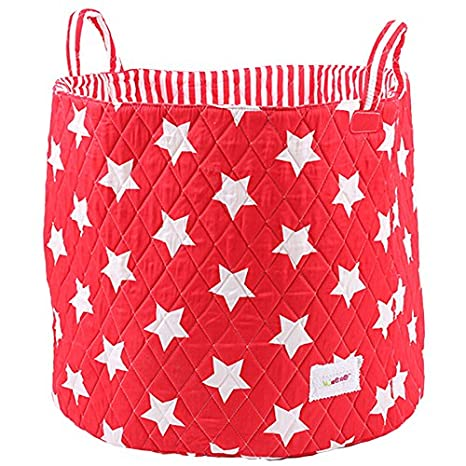 Minene Large Storage Basket with Blue Stars - star storage baskets, round storage baskets, large fabric storage basket - great for toy storage, kids storage and as a laundry hamper 1240