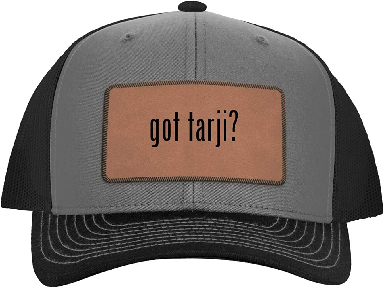 One Legging it Around got Tiseo? Leather Light Brown Patch Engraved Trucker Hat
