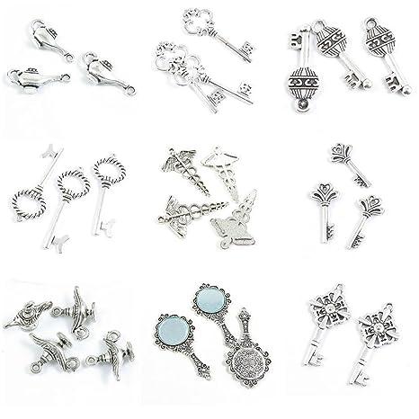 177c35ef8de1 28 piezas de dijes de plata envejecida para hacer joyas