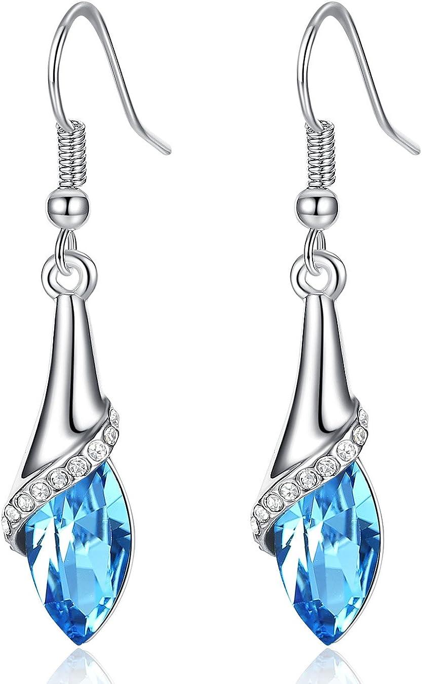 Joyería de moda chapado en oro aleación cristal azul gota cuelga los pendientes para las mujeres
