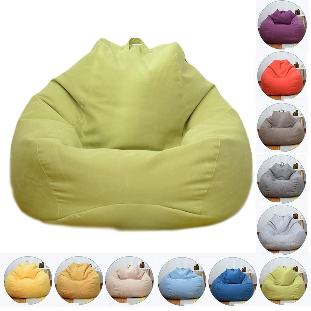 MatchaGreen 8090cm Bean Bag Chair, Natural Cotton Linen Fabrics Beanbag Seat Chair with Removable Washable, for Outdoor Garde Indoor Gamer,CornYellow,100  120cm
