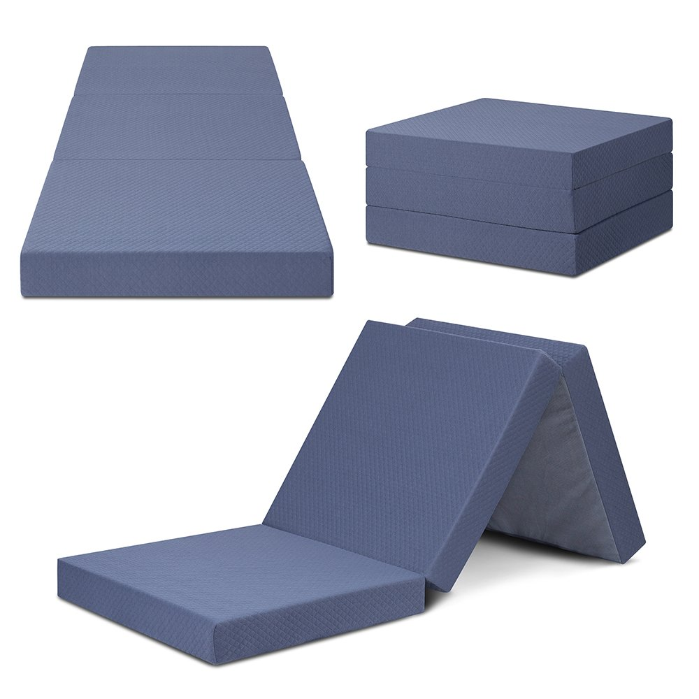 SLEEPLACE 04TM01S Multi Layer Tri-Folding Memory Foam, Topper/4 inch, Grey