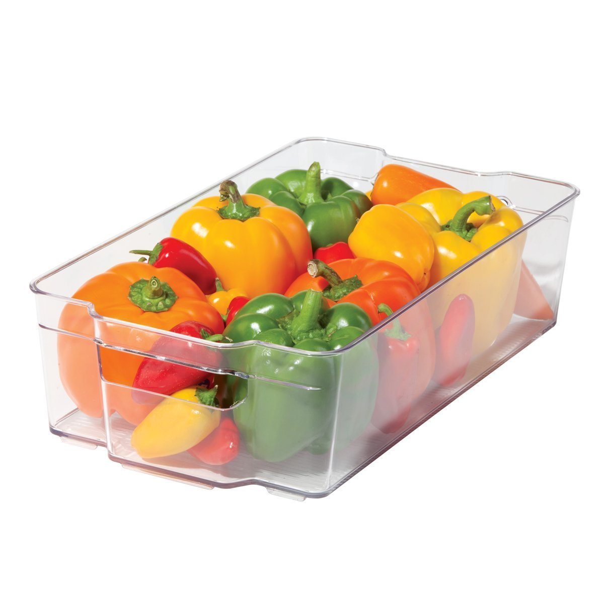 Greenco GRC0250 6 Piece Refrigerator and Freezer Stackable Storage Organizer Bins with Handles Clear