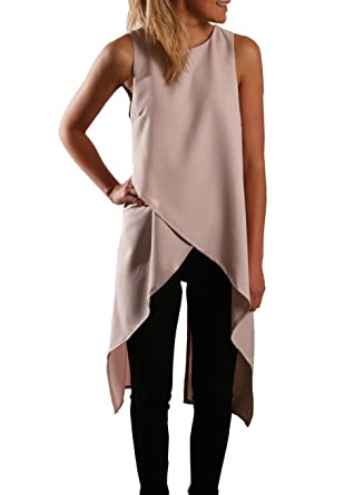 Relipop Women Chiffon Sleeveless Casual Fashion Asymmetric Blouse Shirts  Top (Small d2f45ba6f
