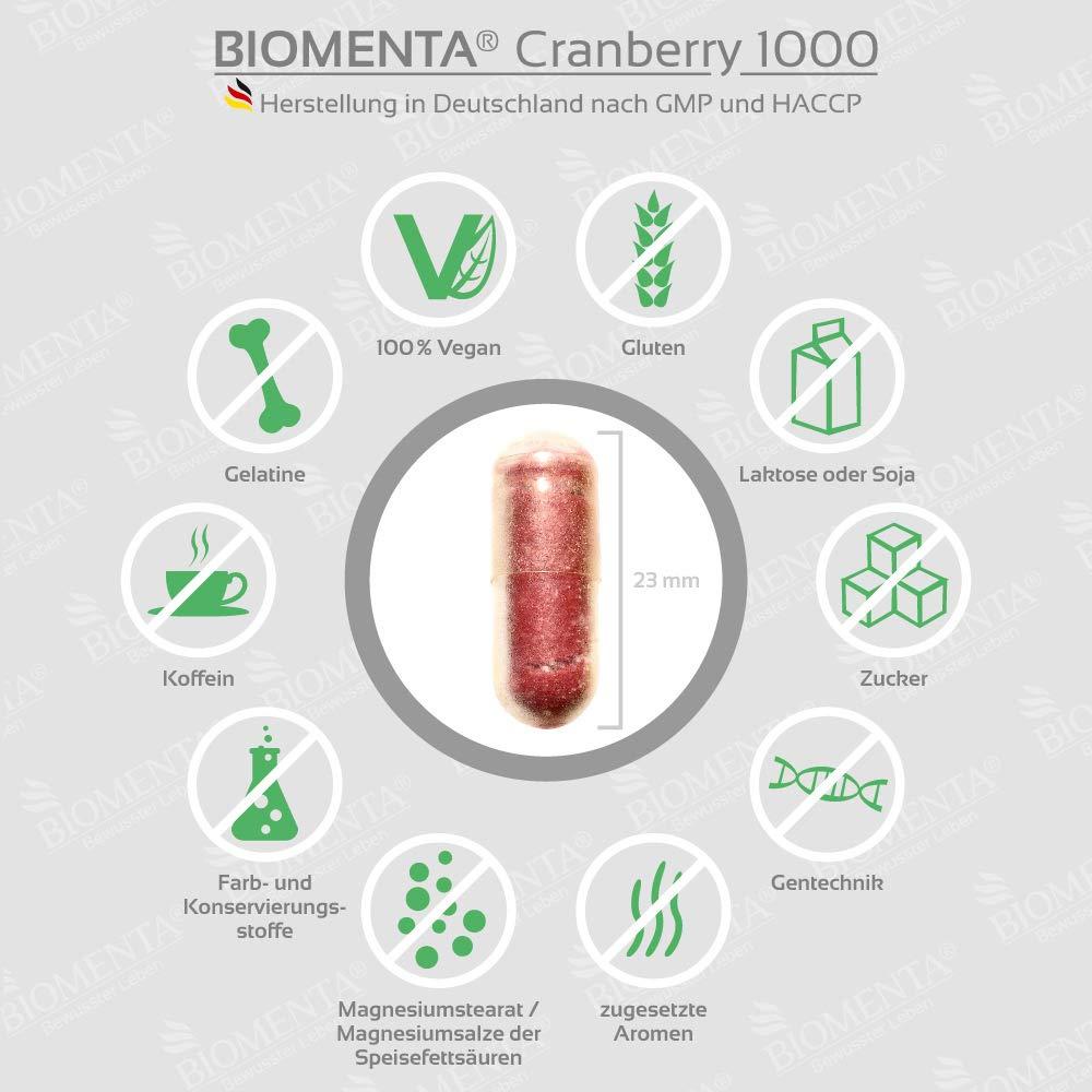 BIOMENTA CRANBERRY 1.000 + VITAMINA C | premio de la acción!!! | 60 vegano Cranberry Cápsulas