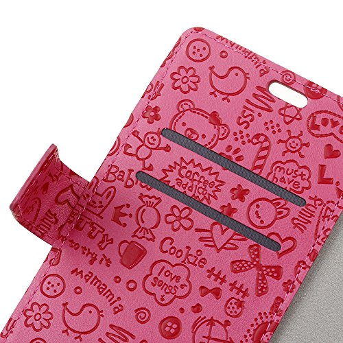 Lusee PU Caso de cuero sintético Funda para BQ S5058 Cubierta con funda de silicona botón pequeña bruja lilac pequeña bruja rojo rosa