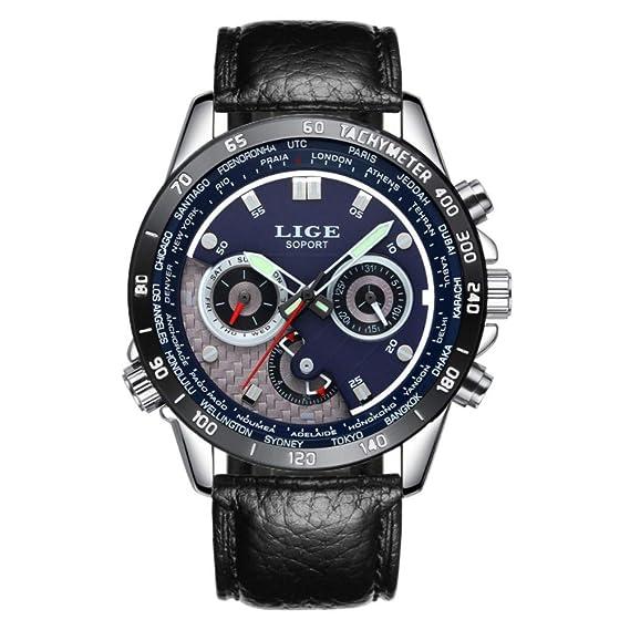 Reloj,Relojes Hombres LIGE Cronógrafo Reloj de Cuarzo Regalos Reloj de Cuero Negocio de Moda