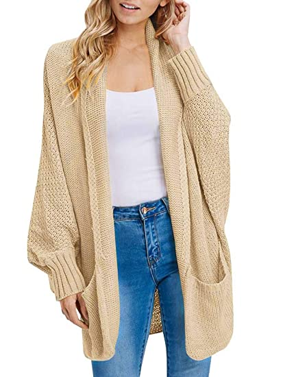 Inorin Womens Cardigan Sweaters Oversized Open Front Knit Batwing Sleeve  Long Jumpers Tops Khaki 79b8f5f55