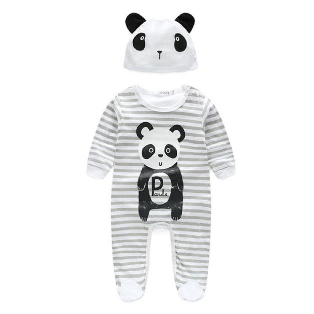 0-3M, Gray Oyedens Baby Boy Girl Panda Print Long Sleeve Playsuit Rompers with Hat