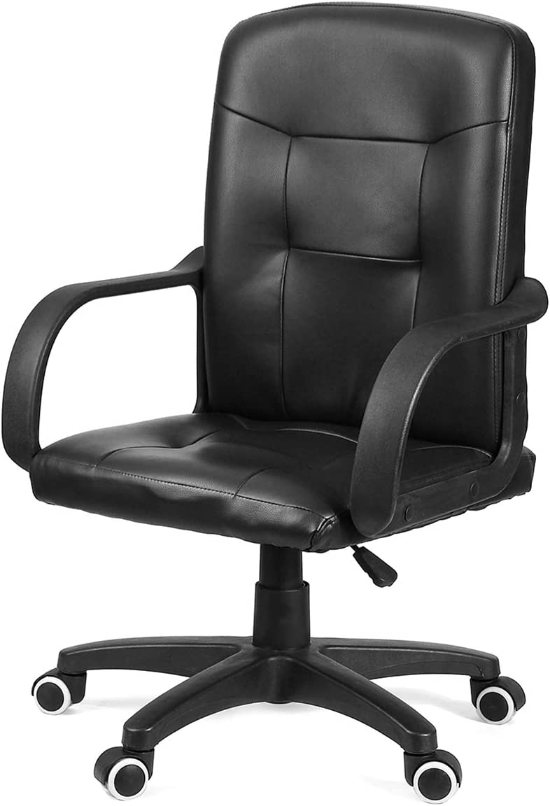 KingSo Computer Desk Task Office Chair Ergonomic PU Leather Executive Ribbed with Lumbar Support Cushion and Footrest Women Men