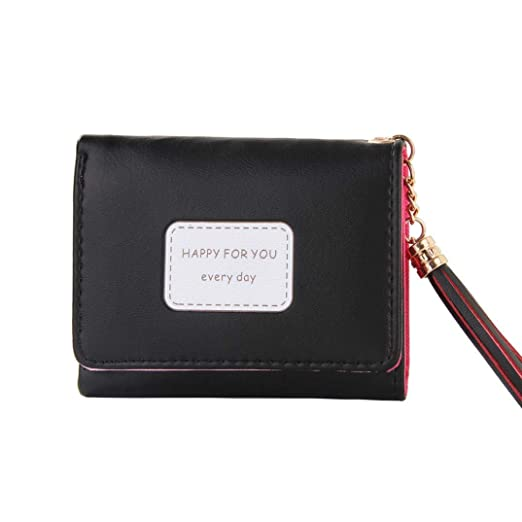 0a6727f6c5c0 Womens Short Wallet Tassel PU HAPPY FOR YOU EVERYDAY Printed ID Card Case  Gift (Black
