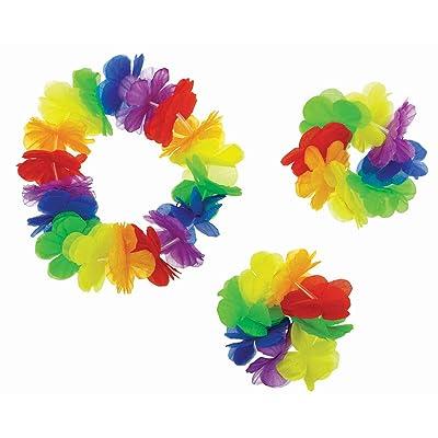 Amscan Party Hawaiian Flower Leis Set, Rainbow: Toys & Games