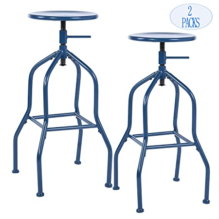 Bar Stools Barstool, Backless Swivel Bar Chairs, Bistro Pub Chair, Cafe Coffee Metal Counter Height Adjustable Industrial Barstools with Footrest, Blue Set Of 2