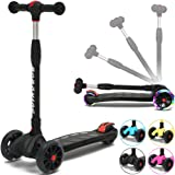 BOBOKING Kick Scooter For Kids, 3 Widening PU Flashing Wheels, Adjustable Height Kids Scooter with a Folding System, Best Gifts for Children from 3 to 17 Year-Old, Surface Balance Technology