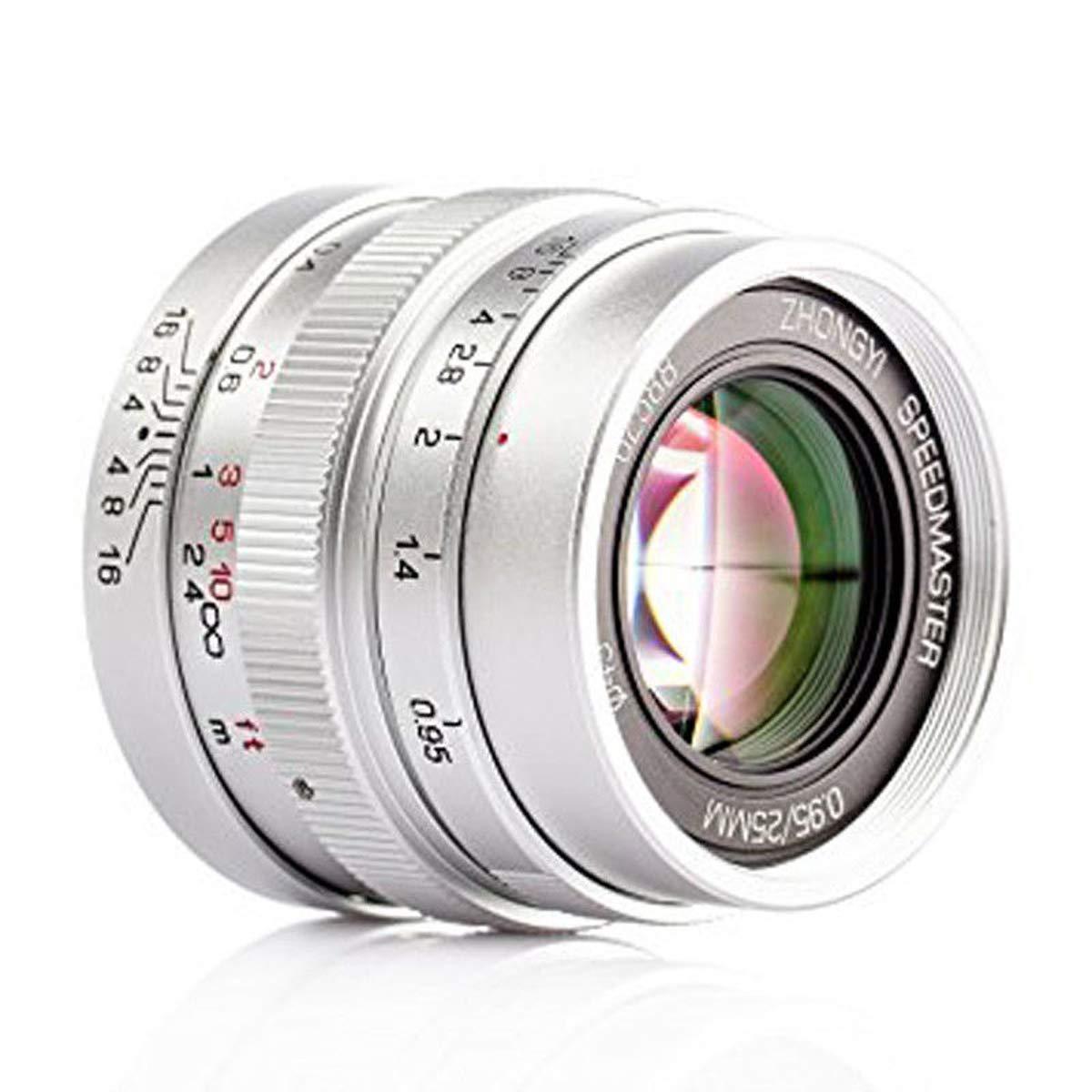 Zhongyi Mitakon Speedmaster 25mm f/0.95 マイクロフォーサーズカメラ OMD GH4 EM1 - シルバーカラー   B07JCBT9HK