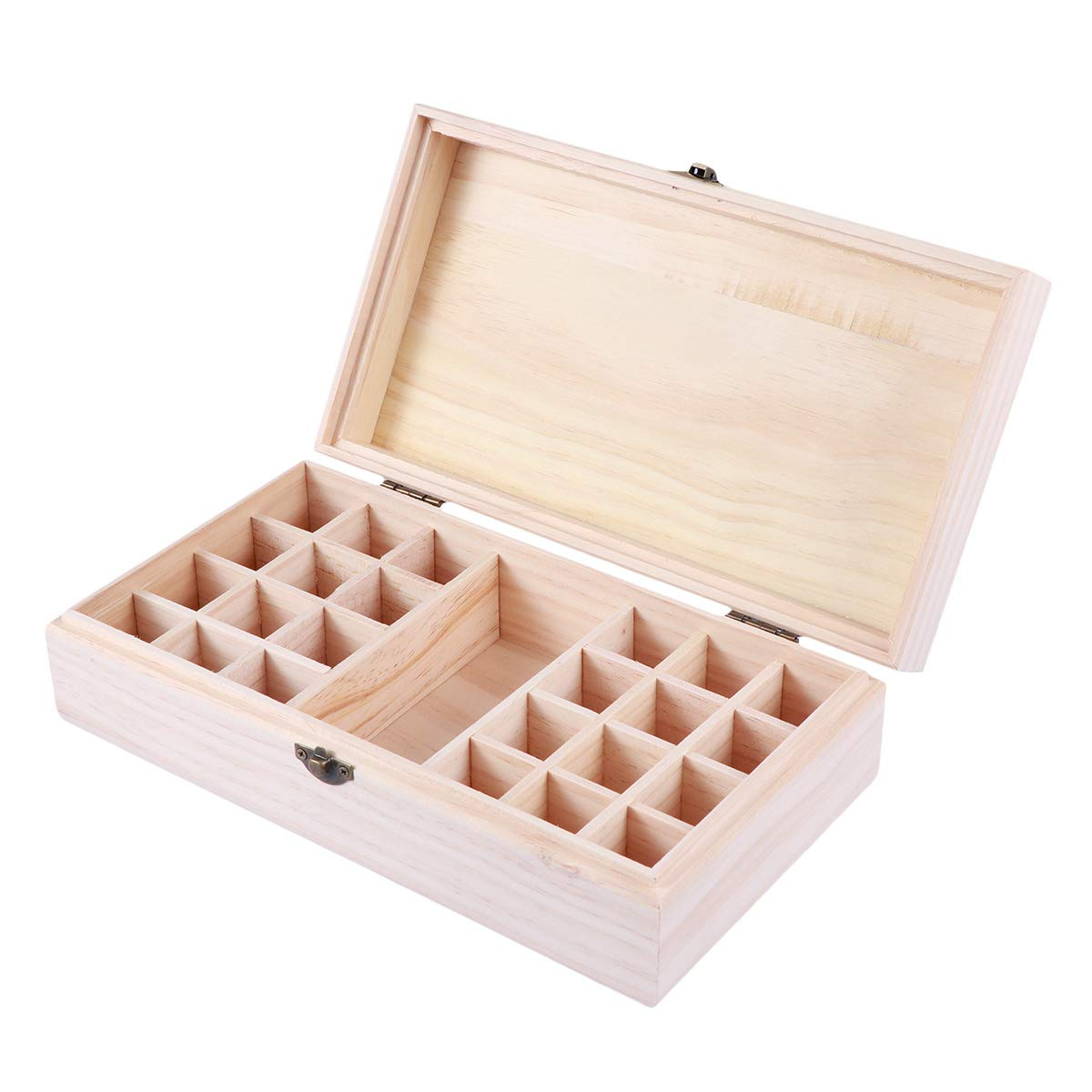 Healifty Essential Oil Wooden Box 24+1 Bottle Essential Oil Wooden Storage Case Portable Carrying Travel Box Holder Organizer