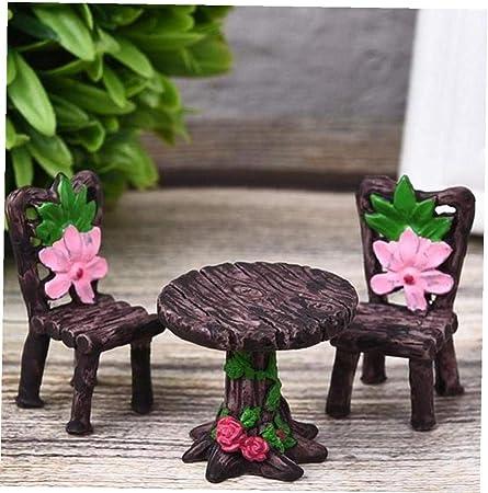 Craft Miniatura 1 Conjunto jardín de Resina Silla Mesa Figurita Micro Ornamento del Paisaje de la decoración del Juguete: Amazon.es: Hogar