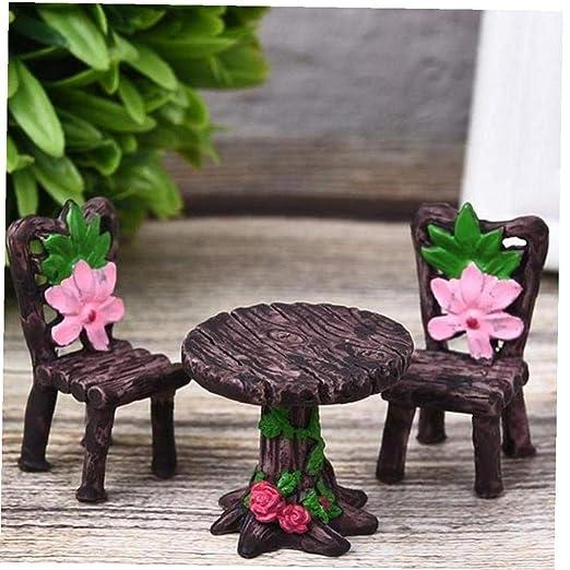 Craft Miniatura 1 Conjunto jardín de Resina Silla Mesa Figurita ...