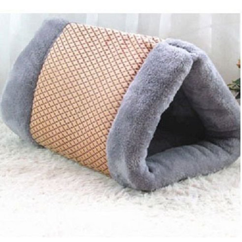 2 in 1 Dual-use Foldable Pet Bed House Tunnel Fleece Tube Indoor Comfortable Pet Cushion Mat Pyramid Pad for Puppy Dog Cat Kitten, Cozy Nest Crate Cage Cave Winter Warm Sleeping Bag