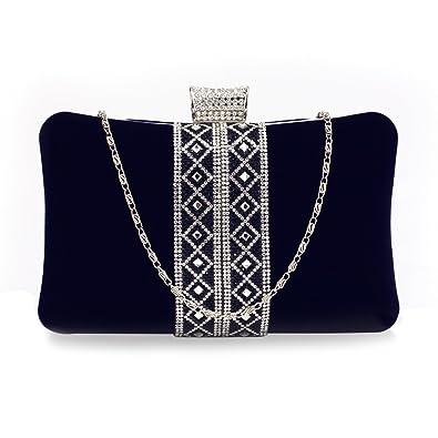 41194cd3df Women's Clutch Purse Sparkly Crystal Evening Velvety Exterior Clutch Bag  (Navy Blue)