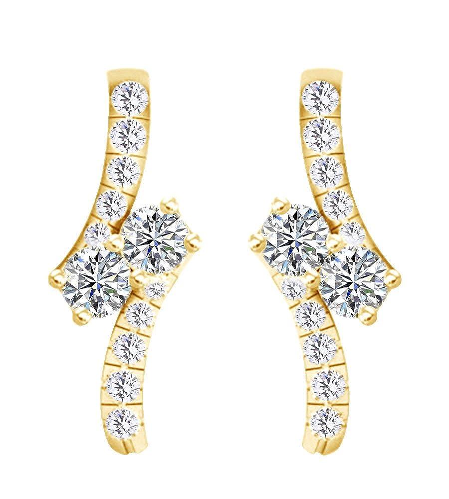0,66 Karat Rundschliff Weißszlig; natürlicher Diamant Drop Ohrring in 14 ct 585 Massiv Weißszlig; Gold 14 Karat (585) GelbGold