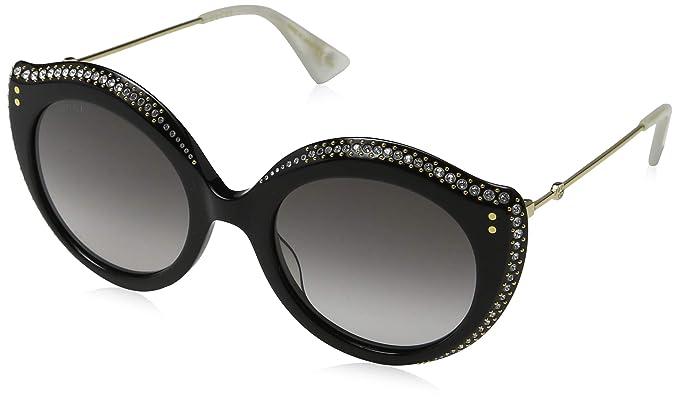11d7458010b Amazon.com  Gucci GG0214S Sunglasses 001 Black Gold   Grey Gradient ...